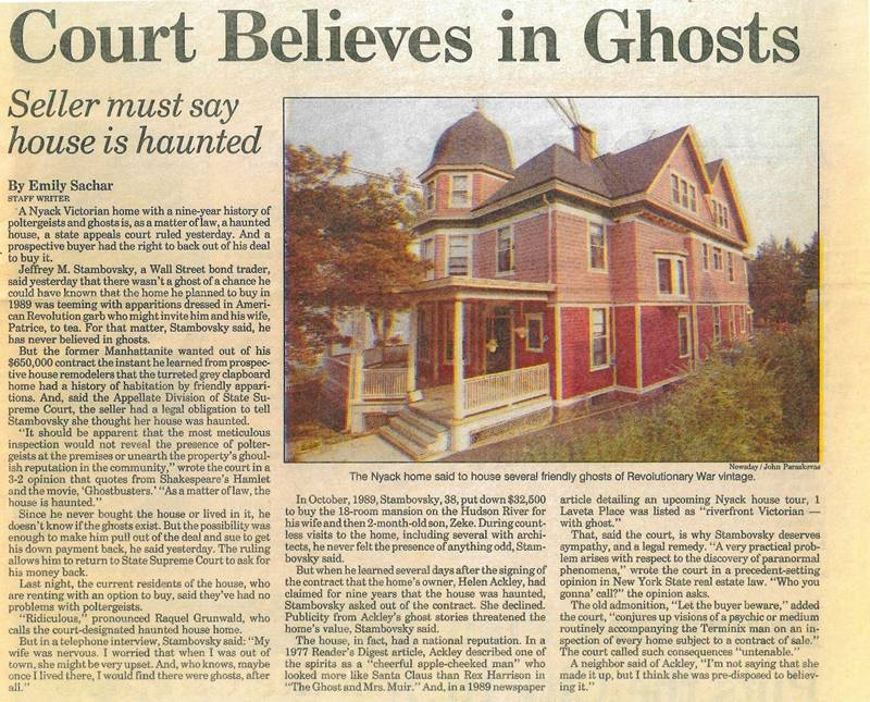I fantasmi di Nyack e la casa infestata certificata dal tribunale 3